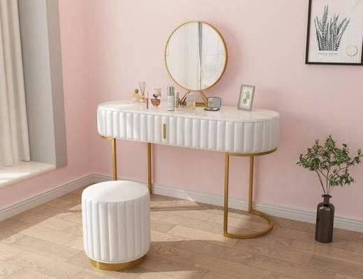 梳妝臺, 擺件組合, 桌椅組合, 盆栽植物, 裝飾畫