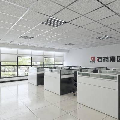 开敞办公, 员工区, 办公区, 矿棉板吊顶, 现代