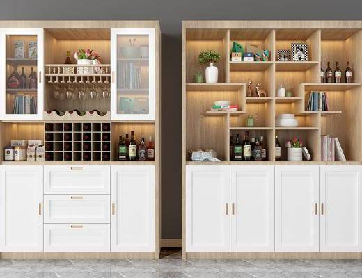 酒柜, 装饰柜组合, 酒瓶, 装饰品, 陈设品, 摆件, 北欧