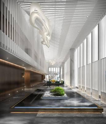 现代, 中庭, 休息区, 大厅, 大堂