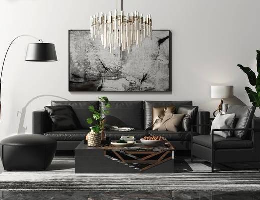 沙发组合, 吊灯, 落地灯, 茶几组合, 盆栽