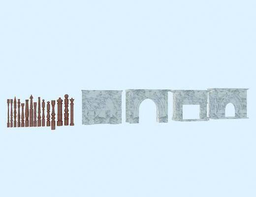 壁炉, 扶手木柱, 楼梯扶手