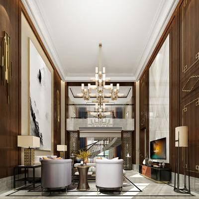 中式别墅客厅, 中式客厅, 客厅, 中式, 中式吊灯