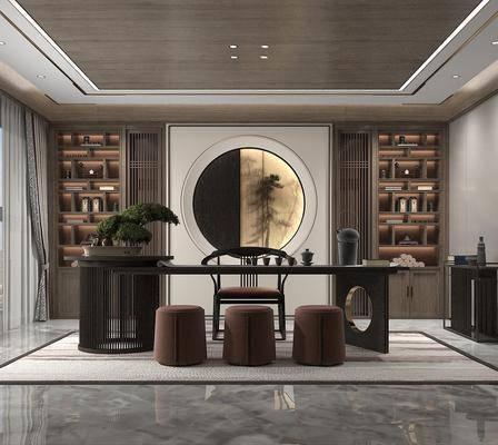 新中式, 茶室, 沙发凳, 桌子, 椅子
