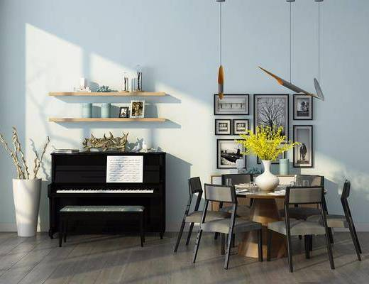 餐桌, 餐椅, 单人椅, 装饰画, 挂画, 照片墙, 吊灯, 置物架, 钢琴, 花瓶花卉, 摆件, 装饰品, 北欧