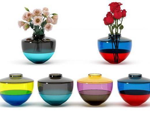 彩色拼接, 陶瓷器皿, 玻璃花瓶, 现代