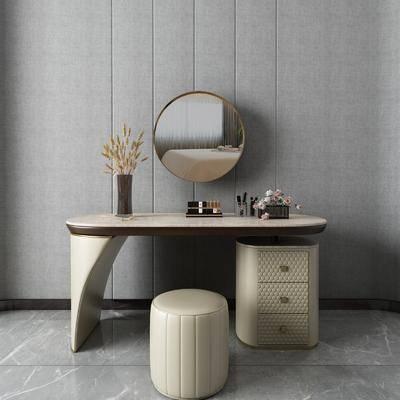 现代化妆台, 沙发凳, 壁镜