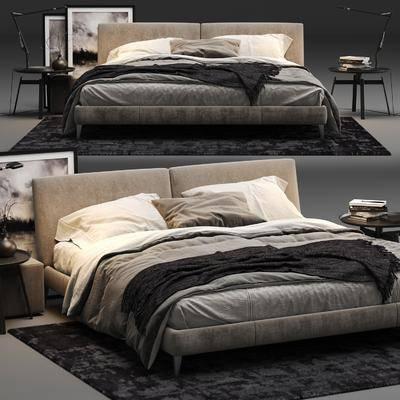 双人床, 床具, 边几, 挂画, 现代