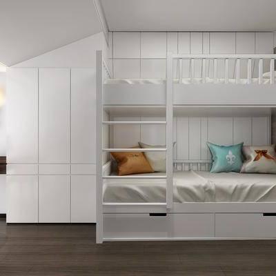 现代儿童房, 现代, 儿童房, 子母床, 上下床, 椅子, 衣柜