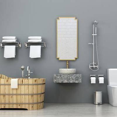 现代卫浴小件, 现代, 浴桶, 浴缸, 马桶, 花洒, 毛巾架