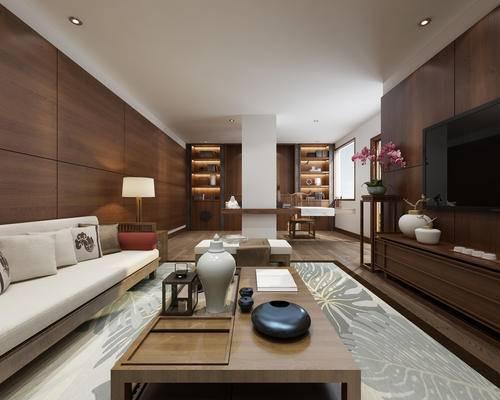 沙发组合, 茶几, 电视柜, 装饰品, 边几, 台灯