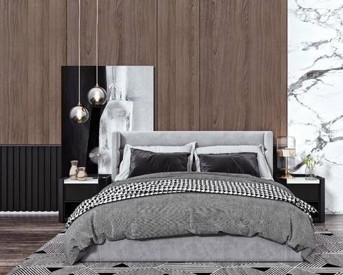 双人床, 床头吊灯, 床头柜, 挂画, 摆件