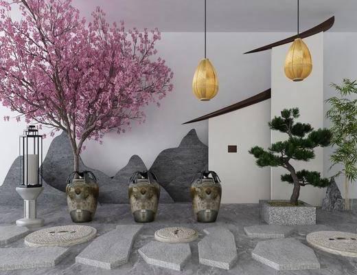 景观小品, 花卉, 盆栽, 绿植, 吊灯, 新中式