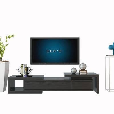 电视柜, 边几, 案几, 植物, 盆栽, 雕塑, 现代