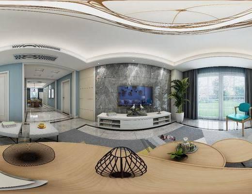 家装全景, 多人沙发, 茶几, 单人沙发, 凳子, 电视柜, 边柜, 装饰柜, 餐桌, 餐椅, 单人椅, 装饰画, 挂画, 吊灯, 装饰品, 陈设品, 现代