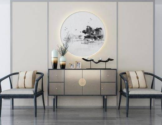 装饰柜, 边柜, 单人椅, 装饰画, 花瓶花卉, 摆件, 装饰品, 陈设品, 新中式