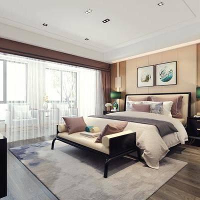 卧室, 床具, 双人床, 床头柜, 台灯, 挂画, 装饰画, 床尾踏, 单椅, 单人沙发, 新中式, 电视柜, 摆件, 装饰品