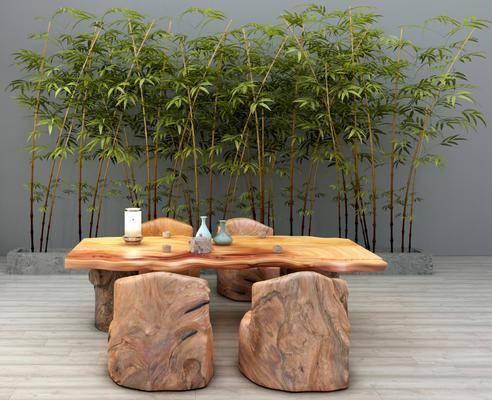 桌椅组合, 茶桌, 凳子, 户外桌椅, 竹子, 摆件组合, 新中式