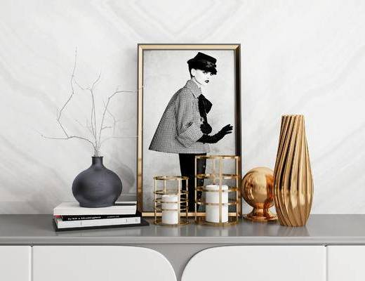 装饰品, 摆件组合, 装饰画, 书籍