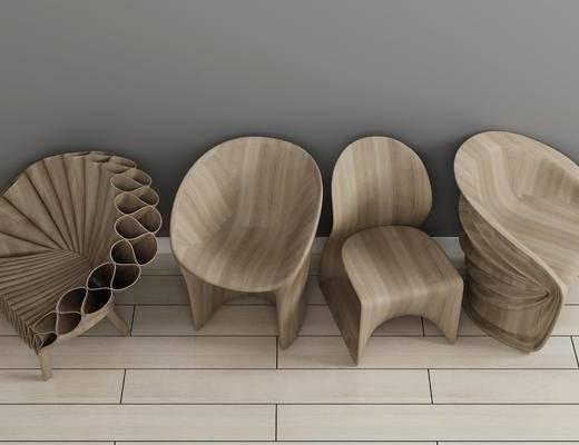 实木椅子, 单人椅, 现代
