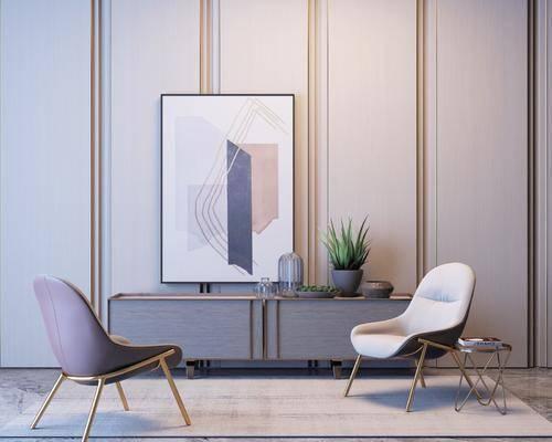 现代边柜单椅组合, 边柜, 单椅, 盆栽, 挂画, 现代