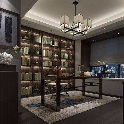 书房, 装饰柜, 书籍, 书桌, 单人椅, 摆件, 装饰品, 陈设品, 吊灯, 新中式