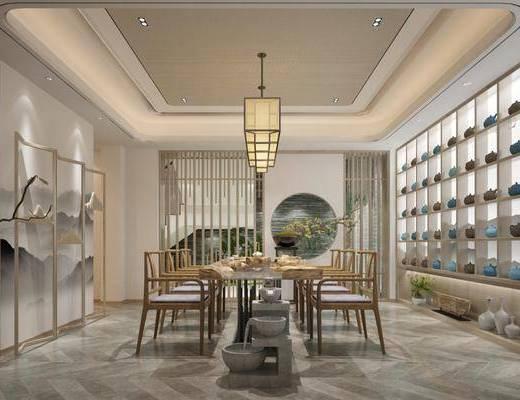 茶室, 新中式茶室, 茶具组合, 桌椅组合, 置物柜