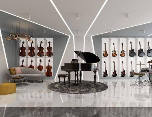 钢琴店, 乐器店, 乐器