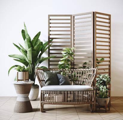 植物, 盆栽组合, 单椅, 休闲椅