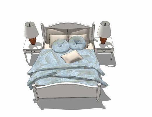 双人床, 床具组合, 床头柜, 台灯