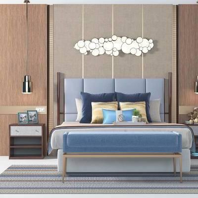 后现代床品, 双人床品, 墙饰, 床头柜, 吊灯, 床头背景墙, 地毯