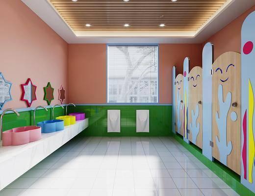 现代, 幼儿园, 卫生间, 工装