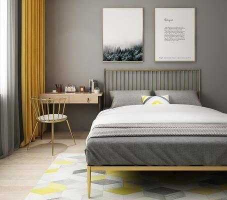 双人床, 书桌, 单人椅, 装饰画, 挂画, 摆件, 装饰品, 陈设品, 北欧