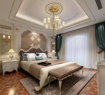 卧室, 双人床, 床尾凳, 床头柜, 台灯, 壁灯, 边柜, 装饰品, 陈设品, 欧式