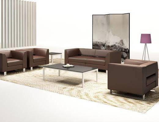 沙发, 双人沙发, 多人沙发, 茶几, 装饰画, 挂画, 落地灯, 现代