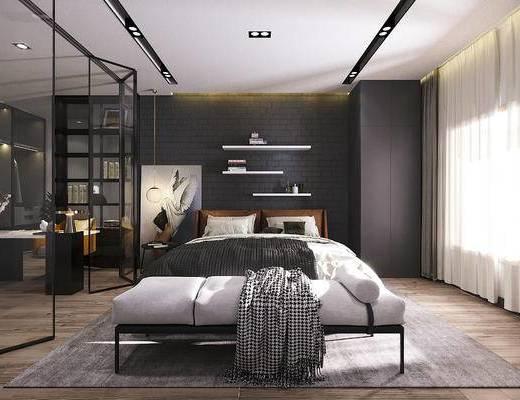 床具组合, 双人床, 床尾踏, 玻璃移门, 书桌