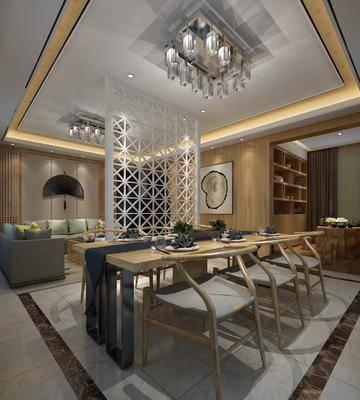 新中式, 客餐厅, 多人沙发, 茶几, 餐桌椅, 墙饰, 挂画, 隔离, 茶室