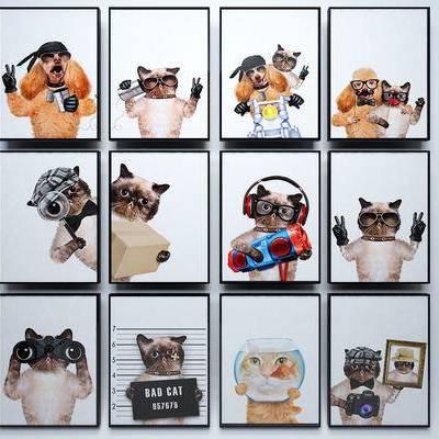 装饰画, 挂画, 现代, 北欧, 动物, 动物画