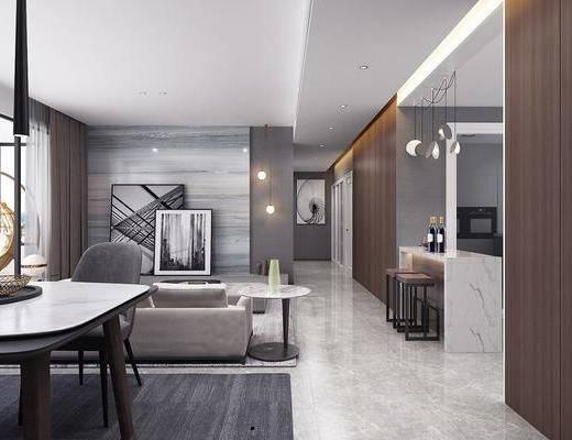 现代, 简约, 客厅, 家装, 场景