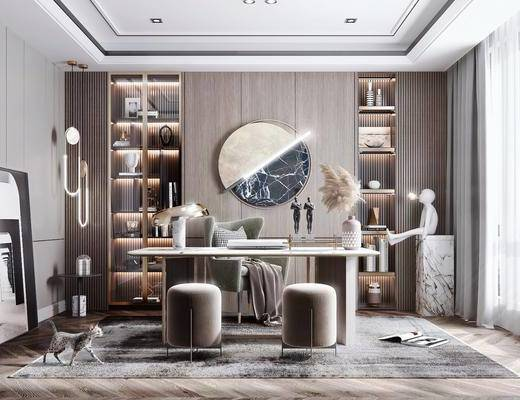 现代书房, 轻奢书房, 书柜, 装饰品, 书桌椅
