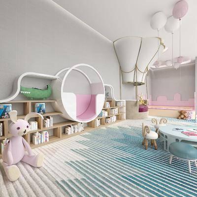 幼儿园, 置物柜, 桌椅组合, 玩具
