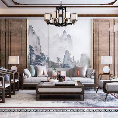 新中式布艺沙发, 新中式, 沙发组合, 布艺沙发, 中式沙发, 茶几, 中式吊灯