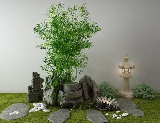 竹子, 石磨, 园艺小品, 景观小品, 假山