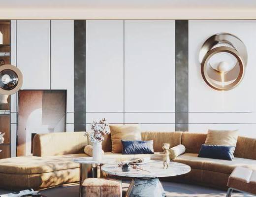 现代, 轻奢, 客厅, 沙发, 背景墙