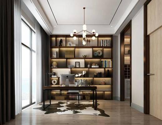 书房, 现代书房, 书柜, 书桌, 单椅, 摆件, 书籍, 吊灯, 装饰品, 现代