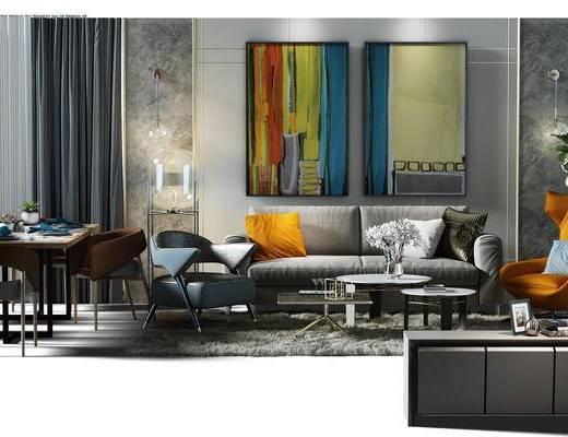 沙发组, 沙发背景墙, 背景墙, 沙发椅, 餐桌椅组合, 桌椅, 餐桌, 桌椅组合, 电视柜, 地毯, 挂画, 装饰画, 窗帘, 壁灯