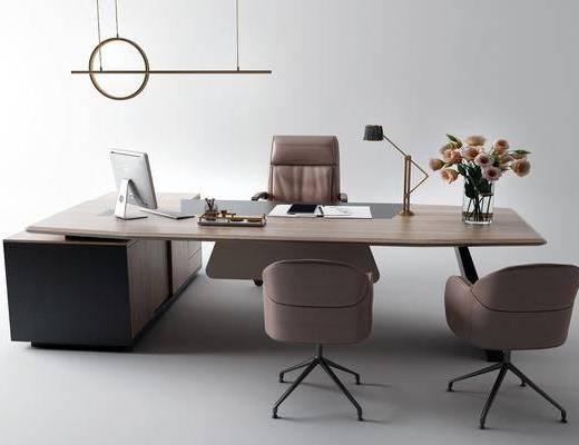 办公桌, 桌椅组合, 吊灯, 摆件