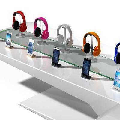耳机, 耳麦, 手机, 展示台, 现代