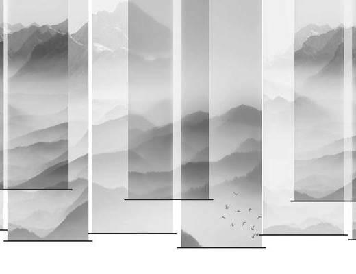 中式, 窗帘, 组合