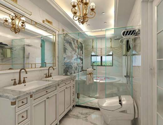 卫生间, 洗手台, 马桶, 吊灯, 装饰镜, 浴缸, 简欧